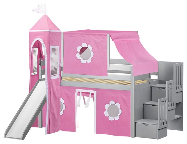Jackpot Princess Twin Low Loft Gray Stairway Bed, Pink And White Tent And Slide.