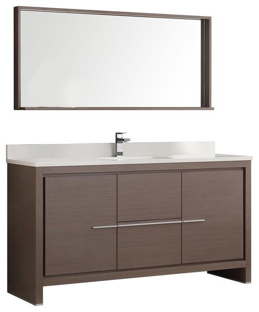 Allier 60 gray oak single sink bathroom vanity with Bathroom vanity storage organization
