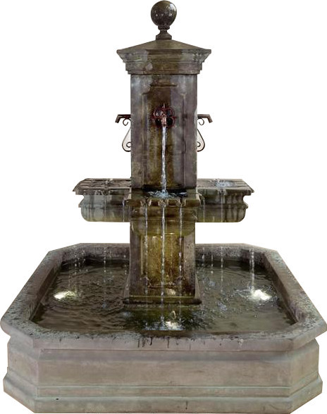 Anduze Carre' Pond Outdoor Cast Stone Garden Fountain For Spouts