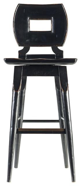 Stanley Furniture Artisan Portfolio Wood Bar Stool, Set Of 2, Ebony