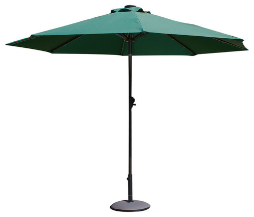 Outdoor Market Aluminum Umbrella With LED Light, Dark Green