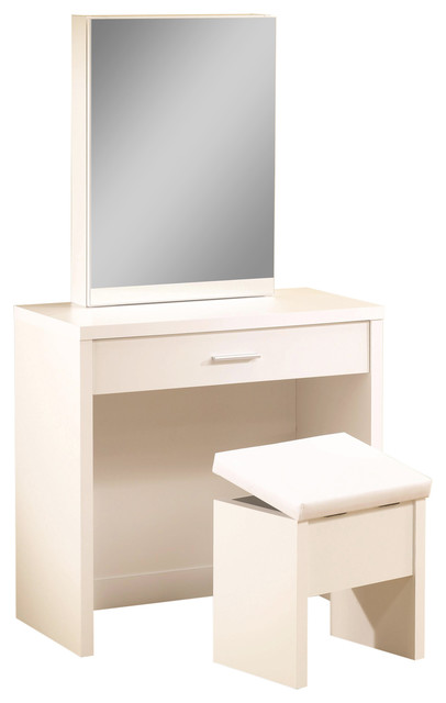 Coaster Vanity With Hidden Mirror Storage and Lift-Top Stool, White