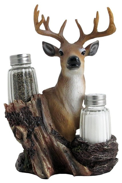 Big Buck Decorative Deer Salt And Pepper Shaker Set, 3-Piece Set.