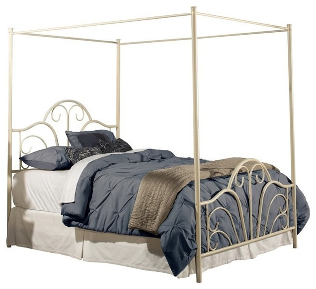 Hawthorne Collections Full Metal Canopy Bed Cream