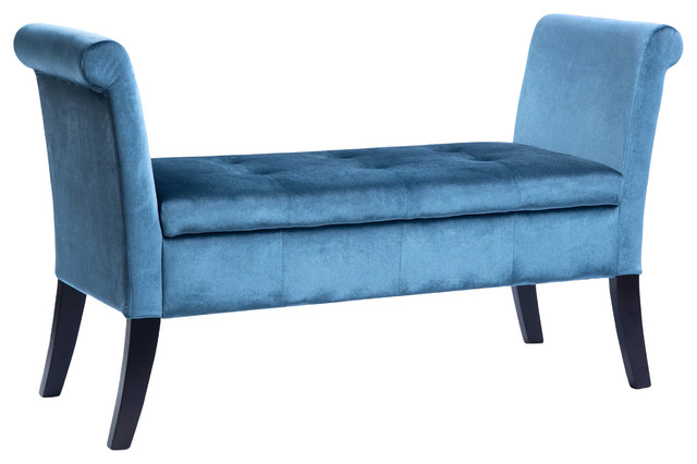 Corliving Antonio Storage Bench With Scrolled Arms, Blue Velvet