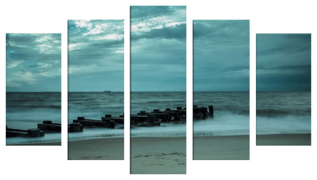 Blue Morning At Rehoboth 5 Piece Panels Canvas Prints Wall Art Symmetrical Beach Style Prints And Posters By Pi Photography Wall Art Fine Art