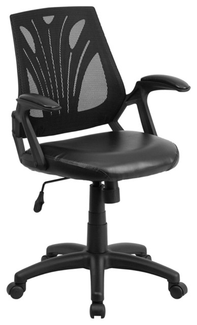 Flash Furniture Mid-Back Black Mesh Swivel Task Chair With Leather Padded Seat.
