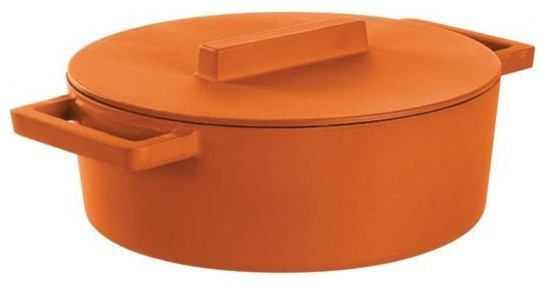 Terra Cotto Cast Iron Oval Casserole Pot With Lid, Curry.
