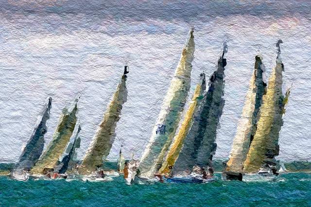 Sailboat Wall Art nautical sailboat race wall art - beach style - prints and posters