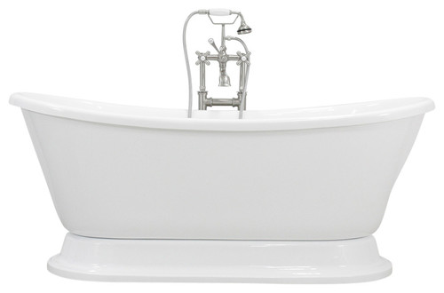 "Isabetta White French Bateau Pedestal Bathtub, 67"" Length"