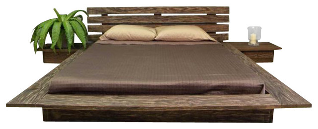 delta distressed finish king size platform bed
