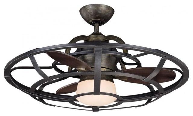 One Light White Etch Glass Reclaimed Wood Ceiling Fan