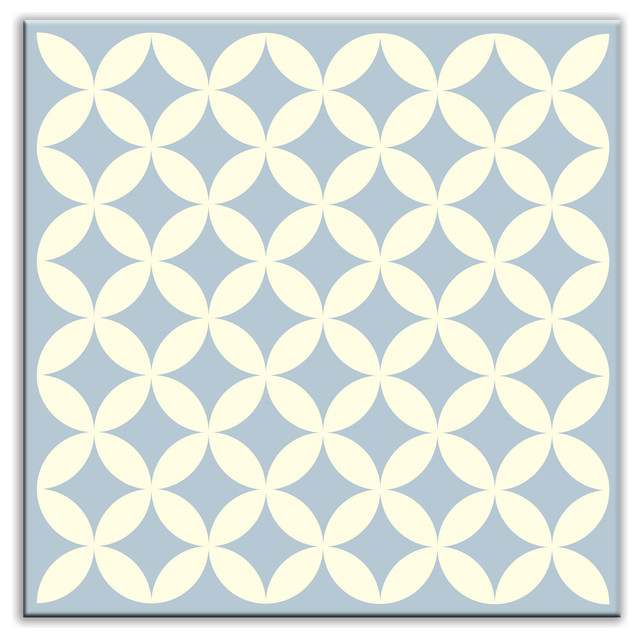"6""x6"" Folksy Love Glossy Decorative Tile, Needle Point Blue Gray."