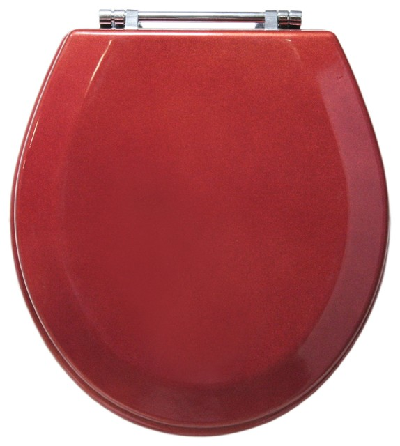 Trimmer Premium Metallic Red Wood Toilet Seat With Chrome