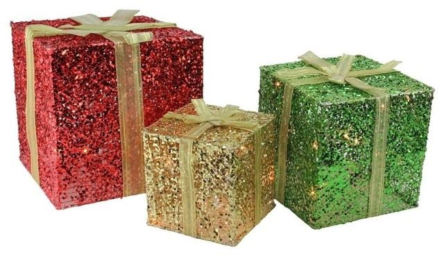 3 piece glittering gift box set lighted christmas outdoor decoration
