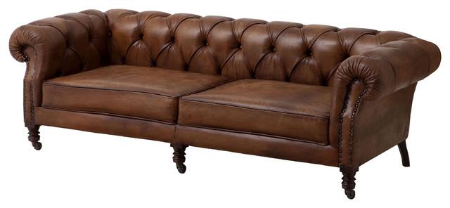 Eichholtz Athenaeum Modern Classic Tobacco Leather Tufted Sofa