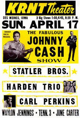 1960s JOHNNY CASH *GRANPA JONES* /& JUNE CONCERT POSTER