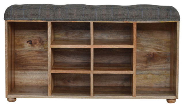 Shoe Cabinet With Upholstered Seat, Oak Finish Mango Wood