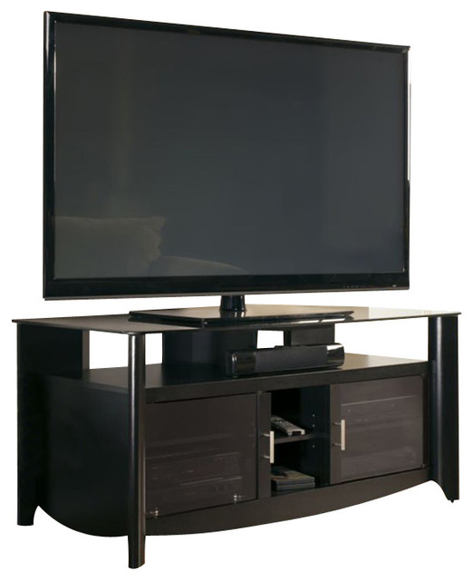 Bush - Bush Aero TV Stand with Glass Top Shelf in Classic Black Finish - View in Your Room! | Houzz