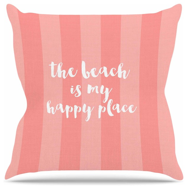 sylvia cook beach is my happy place coral throw pillow 16 - Coral Decorative Pillows