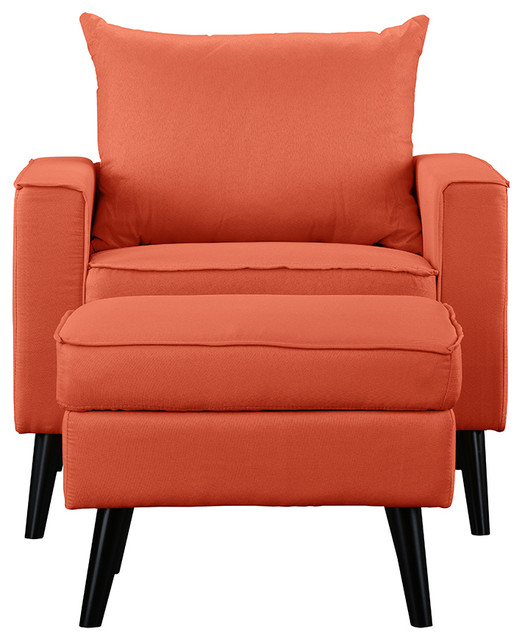 Contemporary Modern Living Room Accent Chair With Ottoman