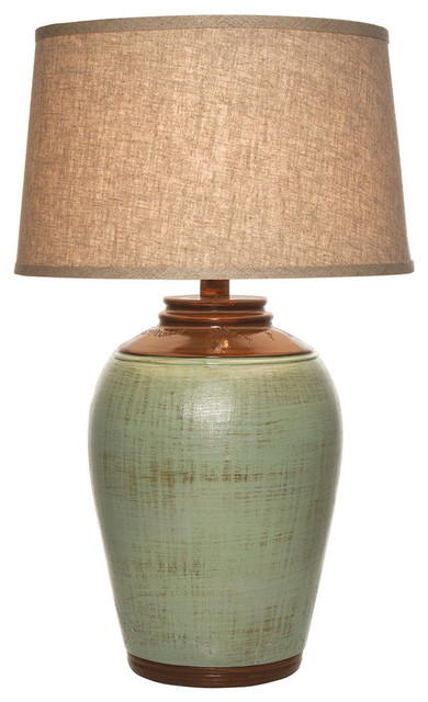 Tuscan Table Lamp With Shade, Celadon Green