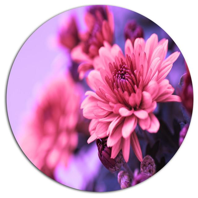 "Colorful Autumnal Chrysanthemum, Floral Disc Metal Artwork, 23""."