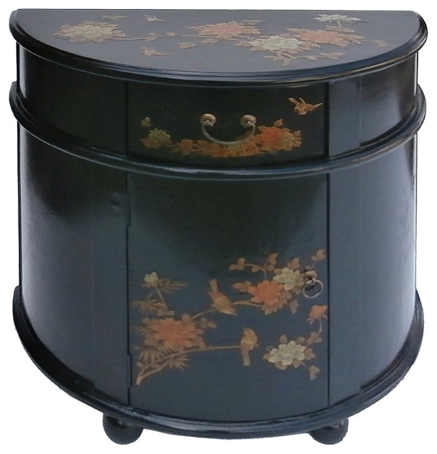 Black Half Moon Shape Chinese Leather Gold Flower Bird Painting Side Cabinet