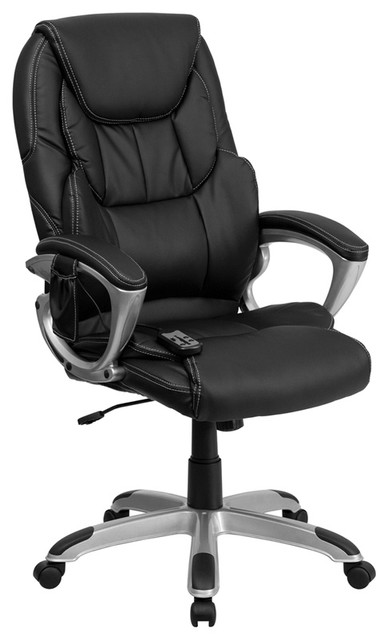 offex high back massaging black leather executive office chair with