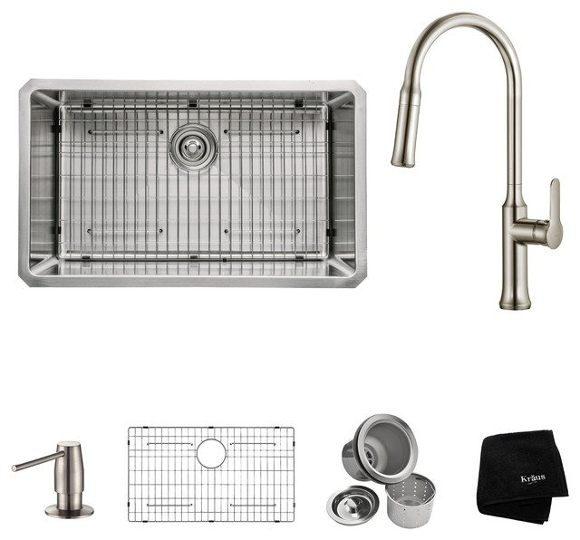 """Undermount Kitchen Sink With Faucet And Soap Dispenser, Stainless Steel, 30""""."""