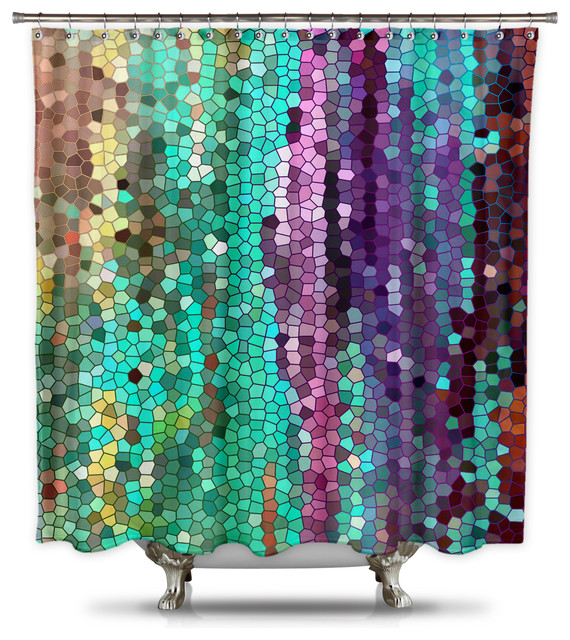 Catherine Holcombe Morning Mosaic Fabric Shower Curtain, Standard Size  Contemporary Shower Curtains