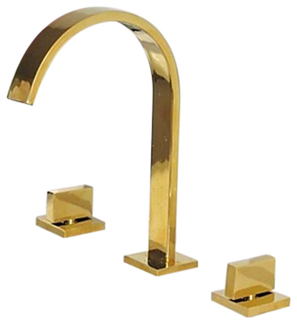 Venice Gold Plated Bathroom 3-Piece Sink Faucet Dual Handles ...