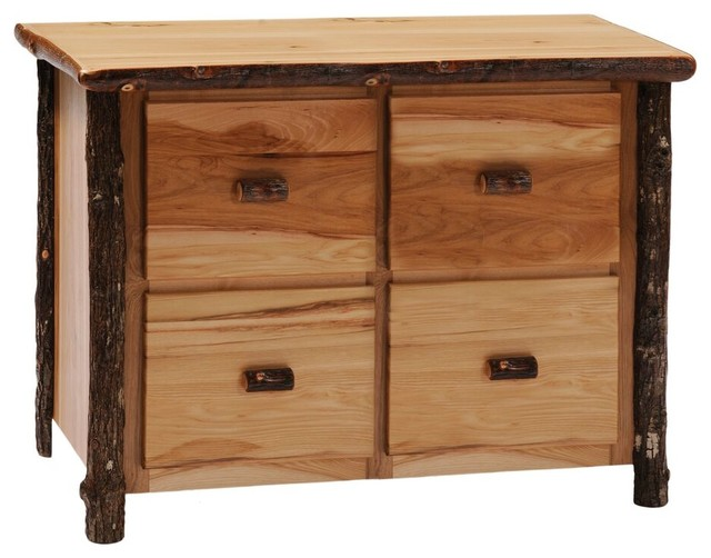 Hickory Four Drawer File Cabinet, Rustic Maple - Filing Cabinets - by Fireside Lodge Furniture