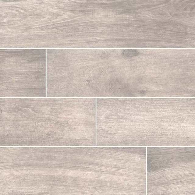 Cottage Smoke 8x48 Matte Wood Look Porcelain Tile Traditional