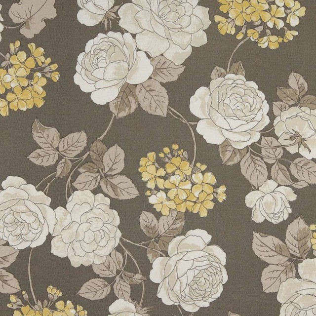 Grey White And Gold Floral Indoor Outdoor Upholstery Fabric By The