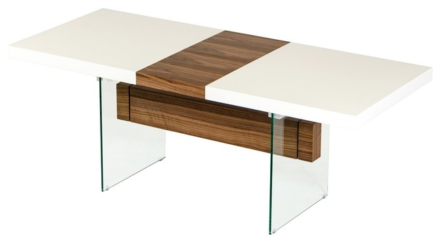 modrest sven floating extendable dining table, white and walnut