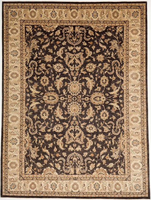 Black And Tan Area Rugs hand made chobi ziegler wool rug with borders black and tan 8.11