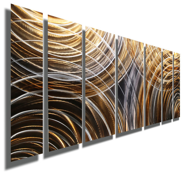 Handmade Earth Tone Abstract Metal Wall Painting, 24x68.