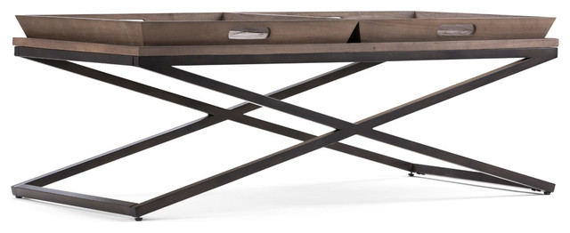 "Damien Solid Aged Elm Wood &Metal 50"" Modern Coffee Table Distressed Natural Elm"