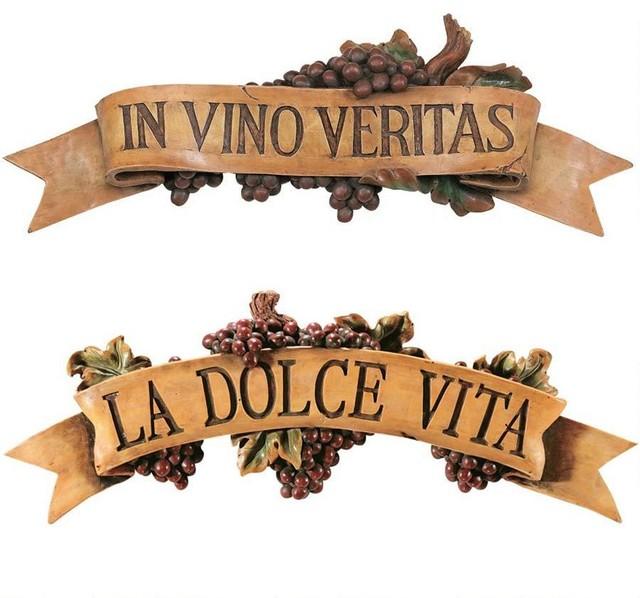 Italian La Dolce Vita And Vino Veritas Kitchen Grapes Wall Sculpture Decor