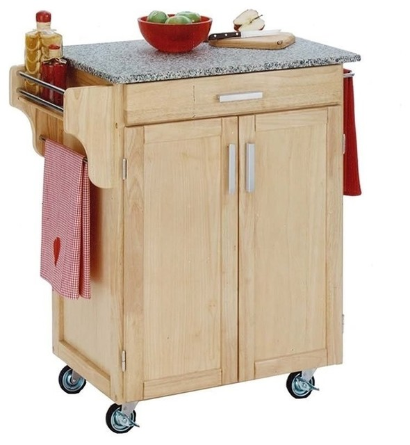 Hawthorne Collections Granite Top Kitchen Cart, Natural Wood Kitchen  Islands And Kitchen