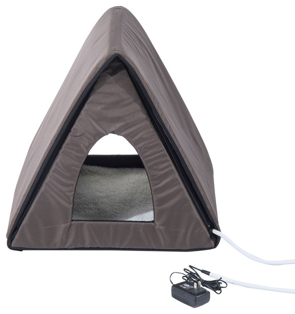 Pawhut Outdoor Heated/Unheated A Frame Cat House, Brown Contemporary Cat