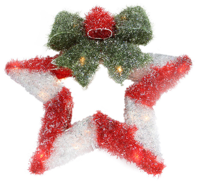 New Lighted Tinsel Star Wreath With Bow Christmas Window Decoration  TX44
