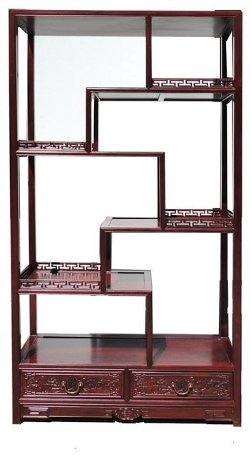 oriental rosewood display curio cabinet divider asian display rh houzz com asian wall shelf
