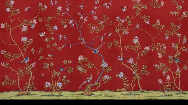 Chinoiserie HandPainted Silk Wallpaper