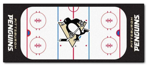 NHL Pittsburgh Penguins Hockey Rink Accent Runner Rug Contemporary Hall And Stair
