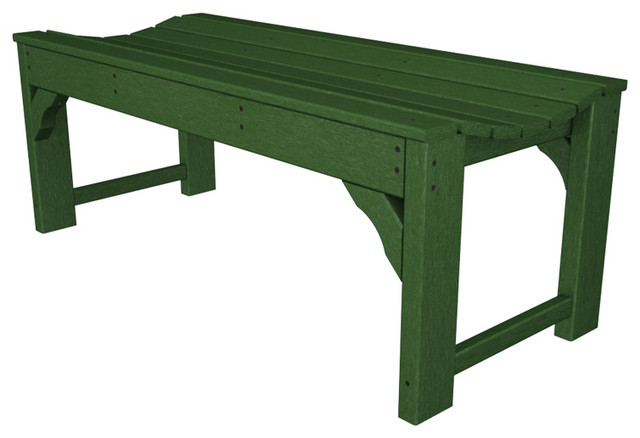 "Polywood BAB148GR Traditional Garden 48"" Backless Bench Green Traditi"