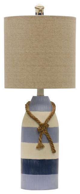 Nautical Rope Table Lamp, Blue Stripe Finish, White Hardback Fabric Shade.