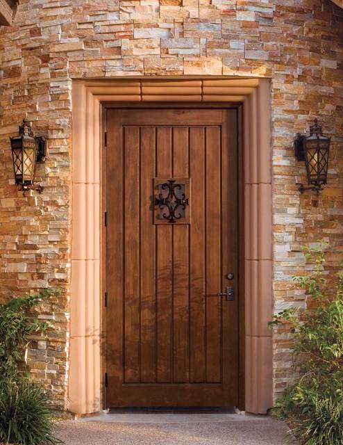 Jeld wen custom fiberglass a1301 mahogany woodgrain door for Rustic exterior doors
