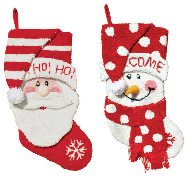 Santa and Snowman Stockings, Set of 2 - Contemporary - Christmas ...